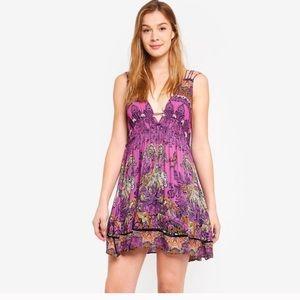 Free People Dresses - Me to you print mini dress grape combo